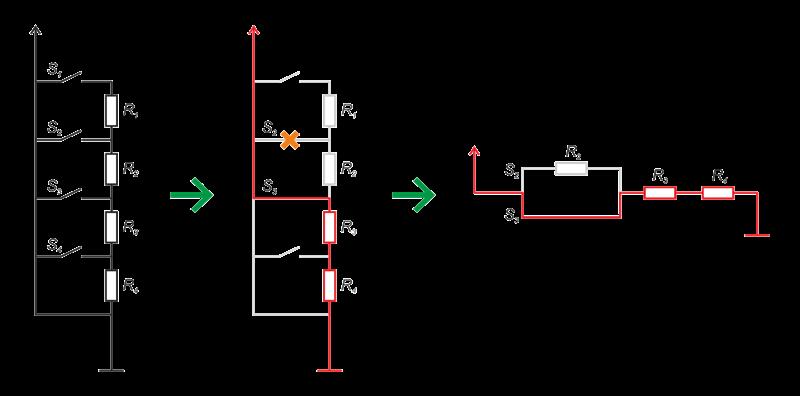 При одновременном нажатии 2и 3кнопки, ток потечет по контуру через 3кнопку